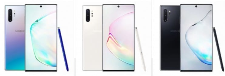 Samsung Note 10 colors
