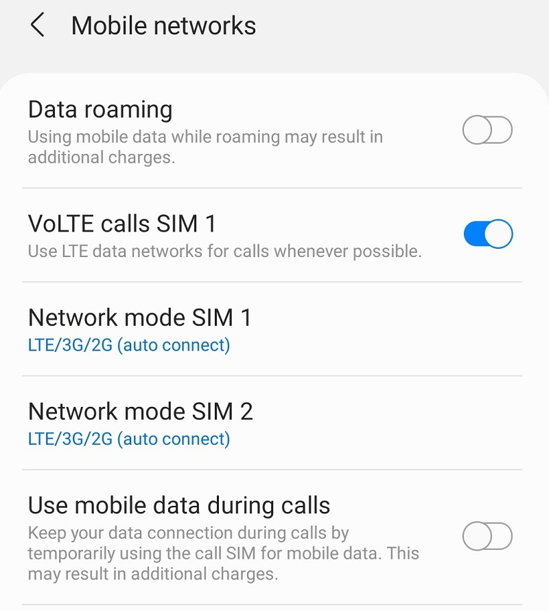 Volte settings on Samsung Phone